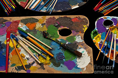 Artist Palette With Brushes Poster by Jim Corwin