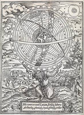 Atlas Cosmology, 16th Century Artwork Poster by Middle Temple Library