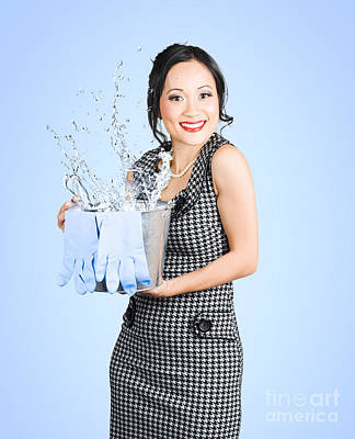 Attractive Young Woman Holding Cleaning Equipment Poster by Jorgo Photography - Wall Art Gallery