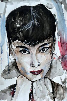 Audrey Hepburn - Abstract Art Poster by Ismeta Gruenwald