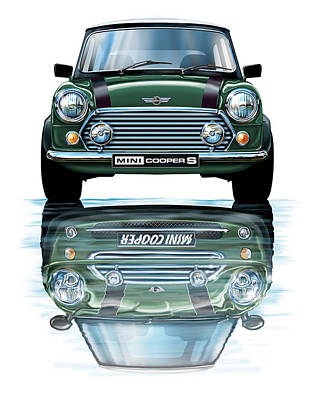 Austin Mini Cooper With New Bmw Mini Cooper Reflected Poster by David Kyte