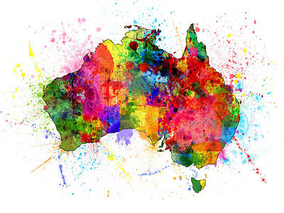 Australia Paint Splashes Map Poster by Michael Tompsett