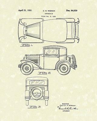 Automobile 1931 Patent Art Poster by Prior Art Design