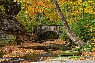 Autumn Bridge Poster by Frozen in Time Fine Art Photography