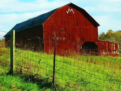 Barn With An M Poster by Joyce Kimble Smith