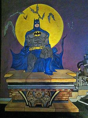 Batman On The Roof Top Poster by Brenda Brown