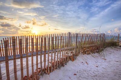 Beach Fences Poster by Debra and Dave Vanderlaan