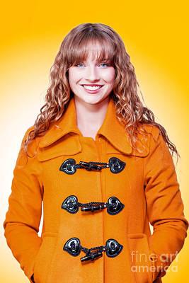 Beautiful Woman In Orange Winter Coat Poster by Jorgo Photography - Wall Art Gallery