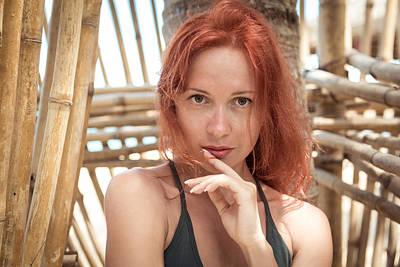 Beautiful Young Woman At The Beach Poster by Nikita Buida