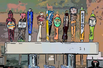Beer Taps 2 Duval Street Key West Pop Art Style Poster by Ian Monk