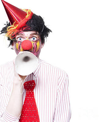 Birthday Clown Making Invitation To Party Guests Poster by Jorgo Photography - Wall Art Gallery