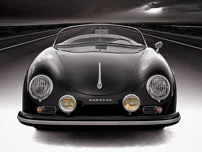 Automotive Poster featuring the photograph Black Speedster by Douglas Pittman