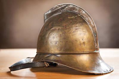 Vintage Brass Unique Fire Helmet  Poster by Arletta Cwalina