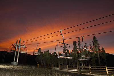 Breckenridge Chairlift Sunset Poster by Michael J Bauer