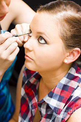 Bride Getting Eye Liner Makeup Applied Poster by Jorgo Photography - Wall Art Gallery