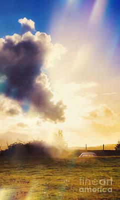 Bright Australian Rural Farm Field Taken Sundown Poster by Jorgo Photography - Wall Art Gallery