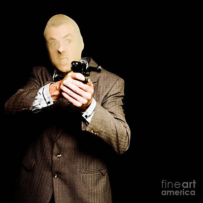 Business Man Or Corporate Crook Holding Gun Poster by Jorgo Photography - Wall Art Gallery