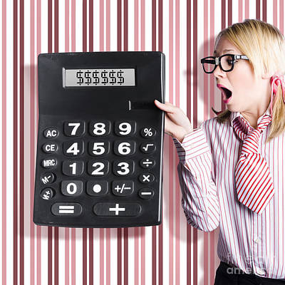 Business Woman Holding Money Savings Calculator Poster by Jorgo Photography - Wall Art Gallery