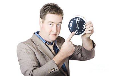 Businessman Showing Time Poster by Jorgo Photography - Wall Art Gallery