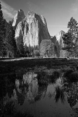 Cathedral Rocks Reflected In A Pond Poster by David Wall