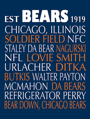 Chicago Bears Poster by Jaime Friedman