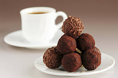 Chocolate Truffles And Coffee Poster by Elena Elisseeva