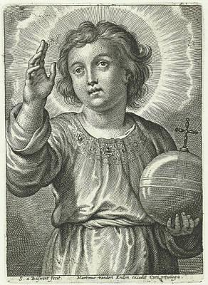 Christ As Salvator Mundi Poster by Schelte Adamsz. Bolswert And Peter Paul Rubens And Martinus Van Den Enden