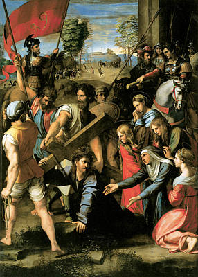 Christ Falls On The Way To Calvary Poster by Raphael