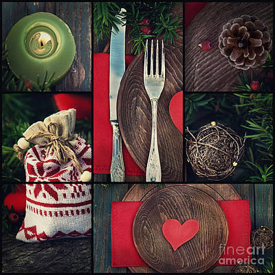 Christmas Dinner Collage Poster by Mythja  Photography