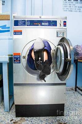 Cleaning Lady Trapped In Washing Machine Poster by Jorgo Photography - Wall Art Gallery