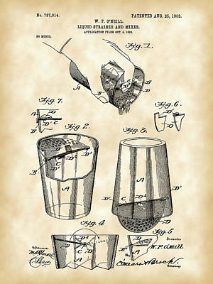 Cocktail Mixer And Strainer Patent 1902 - Vintage Poster by Stephen Younts