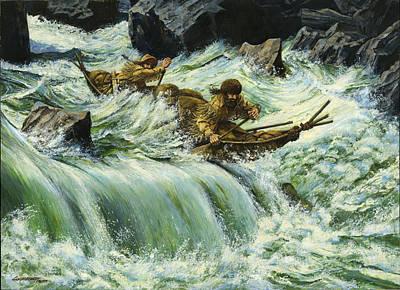 Overcurrent - Frontiersmen In Canoe In Wild Rapids Poster by Don  Langeneckert