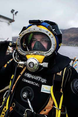 Commercial Diver In Diving Suit Poster by Louise Murray