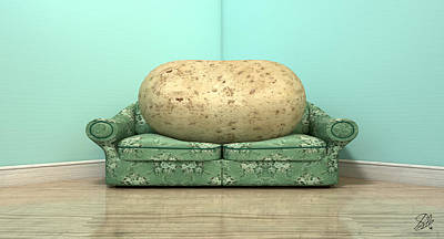 Couch Potato On Old Sofa Poster by Allan Swart