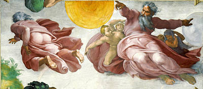 Creation Of Sun Moon And Planets Within The Sistine Chapel Ceiling Poster by Michelangelo di Lodovico Buonarroti Simoni