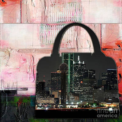Dallas Texas Skyline In A Purse Poster by Marvin Blaine