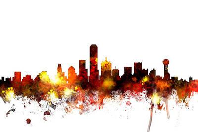 Dallas Texas Skyline Poster by Michael Tompsett