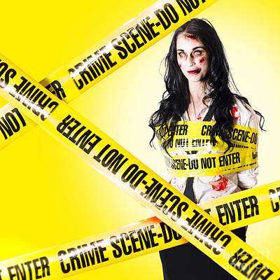 Dead Zombie Wrapped In Tape At Crime Scene Poster by Jorgo Photography - Wall Art Gallery