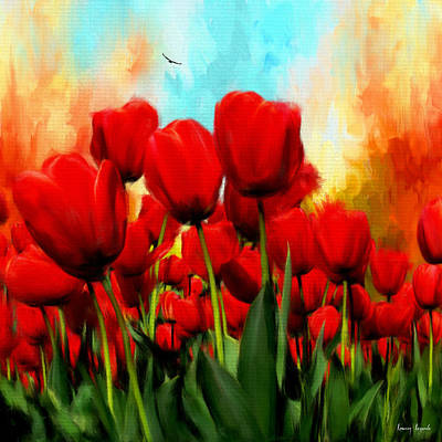 Devotion To One's Love- Red Tulips Painting Poster by Lourry Legarde