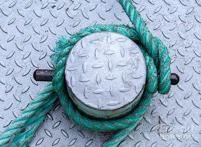 Dock Bollard With Green Boat Rope Poster by Iris Richardson