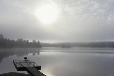 Dock In Morning Fog, Oxtongue Lake Poster by Doug Hamilton