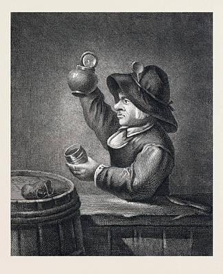 Drinking, Man, Glas, Jug, Barrel, 17th Century, Europe Poster by English School