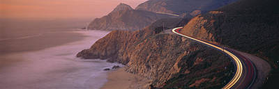 Dusk Highway 1 Pacific Coast Ca Usa Poster by Panoramic Images