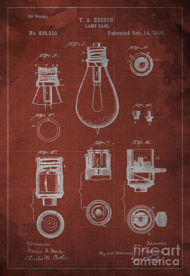 Edison Lamp Base Patent Blueprint Poster by Pablo Franchi
