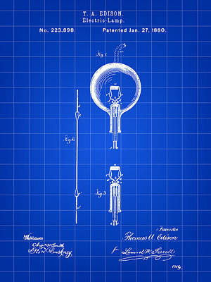 Edison Light Bulb Patent 1880 - Blue Poster by Stephen Younts