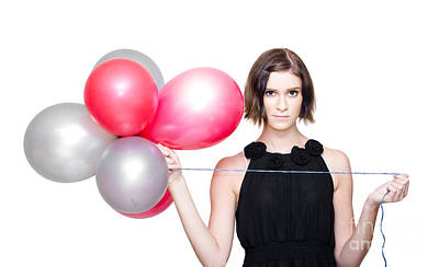 Elegant Woman Holding Balloons Poster by Jorgo Photography - Wall Art Gallery