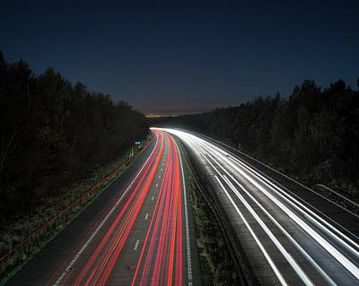 Evening Rush Hour On Motorway Poster by Robert Brook
