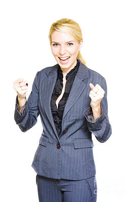 Excited Business Woman Poster by Jorgo Photography - Wall Art Gallery
