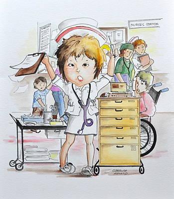 Exhausted Nurse Poster by Gertrudes  Asplund