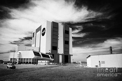 exterior of the vab vehicle assembly building and launch control center Kennedy Space Center Florida Poster by Joe Fox